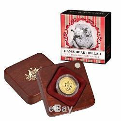 2011 AUSTRALIAN MERINO RAMS HEAD $10 GOLD PROOF COIN 1/10 oz BOX COA 00150