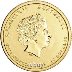 2011 P Australia Gold Lunar Series II Year of the Rabbit 1/10 oz $15 BU