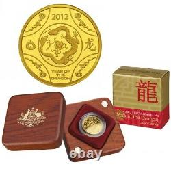 2012 $10 Lunar Year of The Dragon 1/10oz Gold Proof Coin Royal Australian Mint