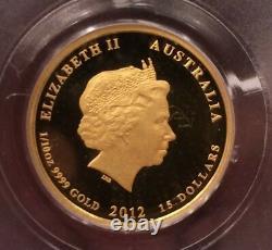 2012 1/10 Oz $15 Gold Proof Lunar Australia Dragon Pcgs Pr70 First Strikes Pf70