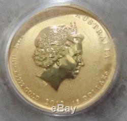 2012 1/10oz $15.9999 Fine Gold Australian Lunar Series Dragon PCGS MS-69