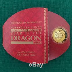 2012 1 oz High Relief Gold Lunar Dragon PR70DCAM PCGS Only 388 Minted RARE