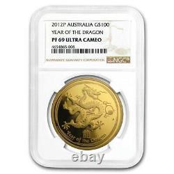 2012 Australia 1 oz Gold Lunar Dragon PF69 UCAM NGC SKU#207345