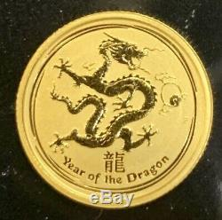 2012 Australia Gold Year Of The Dragon $15 1/10 oz. 9999 Coin Perth Mint GEM BU