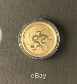 2012 Australian 1/10oz GOLD Coin 9999 Gold Bullion Lunar DRAGON