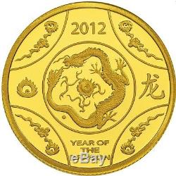 2012 Australian Lunar Year of the Dragon 1/10oz Gold $10 Proof Coin