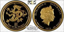2012 Australian Lunar Year of the Dragon Gold/Silver High Relief Set PCGS PR69