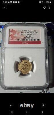 2012 Gold. 999, Lunar Dragon. 1/10, $15, MS70