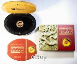 2012 Perth Mint Lunar Dragon 1/4 oz. Gold Coin with Box & COA