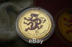 2012 The year of the Dragon Drache PROOF Color 1/4 Oz Gold Australia 25$ BOX COA