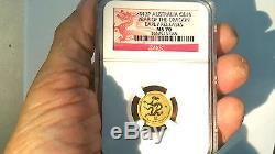 2012 Year of Dragon Gold Lunar $15. Millennium. 33,033 Minted. NGC 70 POP 333