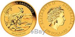 2013 1 oz Australian Gold Kangaroo Perth Mint Coin. 9999 Fine BU In Cap