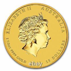 2013 Australia 1/10 oz Gold Lunar Snake BU (Series II) Coin in Capsule