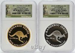 2013 Australia Kangaroo Gold & Silver 1 oz NGC PF70 20th Anniversary Set JC868