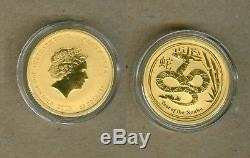 2013 Australian $25 Lunar Year Of The Snake Gold Coin 1/4 Oz. 9999 Gold