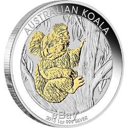 2013 Australian Koala 1oz Silver Proof, Gold Gilded Coin Perth Mint
