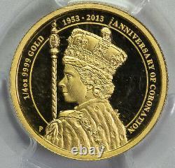 2013 P PCGS PR70DCAM Australia $25 Coronation 1/4oz Gold Item#P13202