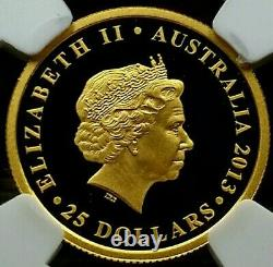 2013, Perth Mint Solid Gold $25, Land Down Under, PF70UC 1000 Minted 7.77g