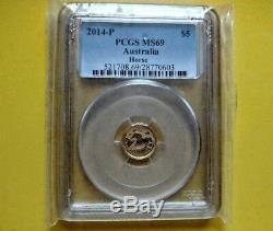 2014 1/20oz $5 Gold Australian Lunar Horse BU PCGS MS69 (Series II)