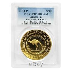 2014 2 oz Australian High Relief Proof Gold Kangaroo Coin Perth Mint PCGS PF 70