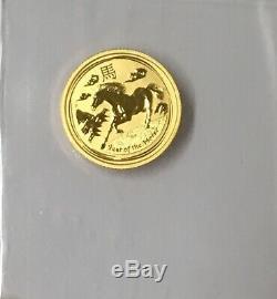 2014 Australia Lunar Year Of The Horse 1/10 Oz GOLD
