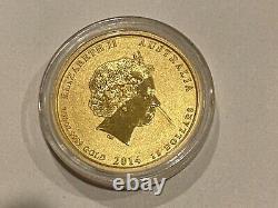 2014 Australian 1/10 oz Gold Coin Lunar Horse. 9999 in Protective Capsule