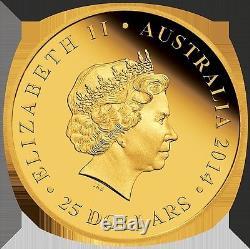 2014 Australian Kangaroo 25th Anniversary 1/4oz gold Proof Coin
