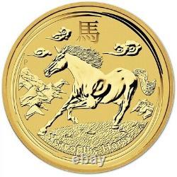 2014 Australian Year Of The Horse Gold Lunar 1/4 oz. 9999 BU Coin Mint Capsule