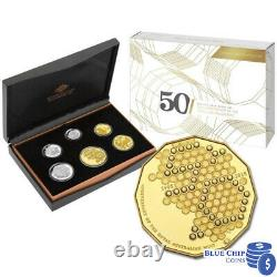 2015 6 COIN PROOF SET 50th ANNIVERSARY OF ROYAL AUSTRALIAN MINT GOLD PLATED 50C