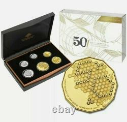 2015 6 COIN PROOF SET 50th ANNIVERSARY ROYAL AUSTRALIAN MINT GOLD PLATED 50 CENT
