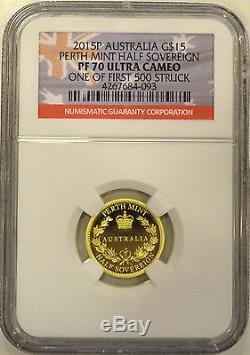 2015 Australia Gold Proof Half Sovereign. NGC PF70 Ultra Cameo. Perfect Grade