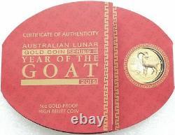 2015 Australia Lunar Goat High Relief $100 Gold Proof 1oz Coin PCGS PR70 DCAM