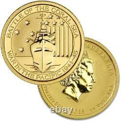 2015 Australian 1/4 oz. Battle of The Coral Sea. 9999 Gold Coin