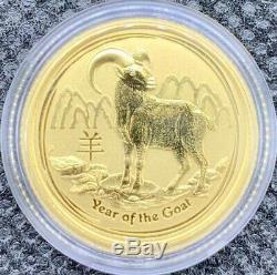 2015 Australian Year Of The Goat Gold Lunar 1/10 oz. 9999 BU Coin Mint Capsule