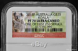 2015-P $25 1/4 Oz. 9999 Gold Koala Australia Proof PF70 Ultra Cameo