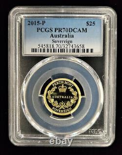 2015 P $25 Gold Australia Sovereign Proof Coin PCGS PR 70 DCAM