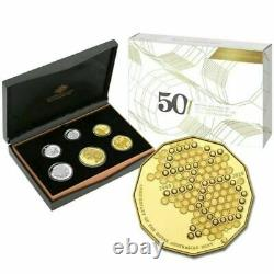 2015 Six Coin Proof Set 50th Anv of Royal Australian Mint with Gold Plated 50c