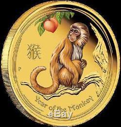 2016 $15 Australian Lunar Series Monkey 1/10 oz gold proof coloured coin