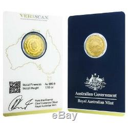 2016 1/10 oz Gold Kangaroo Coin Royal Australian Mint Veriscan (In Assay)
