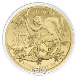 2016 1/10 oz Gold Lunar Year of the Monkey Coin. 9999 Fine BU (In Capsule)