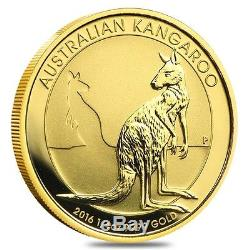 2016 1/4 oz Australian Gold Kangaroo Perth Mint Coin. 9999 Fine BU In Cap