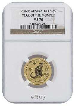 2016 1/4oz Gold Perth Lunar Year of the Monkey MS70 NGC (#027)