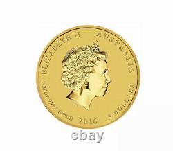 2016 $5 1/20 oz Gold Colorized Australian Lunar Monkey King. 9999 BU in Capsule