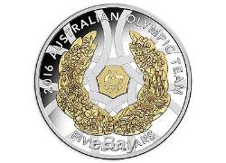 2016 $5 Australian Olympic Team Gold Plated Silver Proof Coin