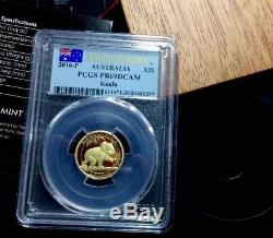 2016 Australian Koala Gold Proof Coin 1/4 Oz. 999 Pcgs Graded First Strike