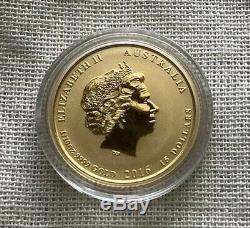 2016-P $15 1/10 oz Gold Lunar Australian Year of the Monkey. 9999