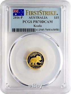 2016-P $15 Australia Koala 1/10oz. 9999 Gold Coin PCGS PR70DCAM First Strike