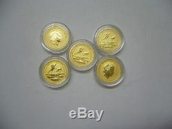 2016-P $15 Pearl Harbor Perth Mint 1/10 oz. 9999 Gold Coins Lot of 5