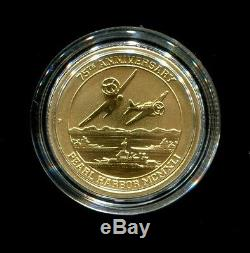 2016 P Pearl Harbor $15 1/10 Oz. 9999 75th Anniversary Gold Coin in Cap with COA