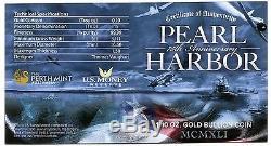 2016 P Pearl Harbor $15 1/10 Oz. 9999 75th Anniversary PCGS MS70 Gold with COA